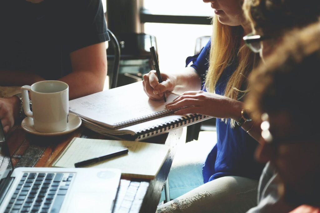 Team working on apparel marketing plan