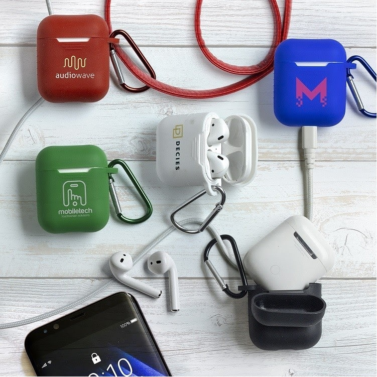 multiple colored custom AirPods cases