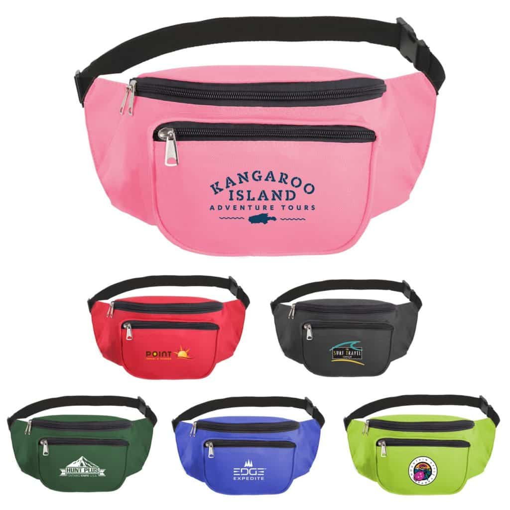 Multiple colored fanny packs