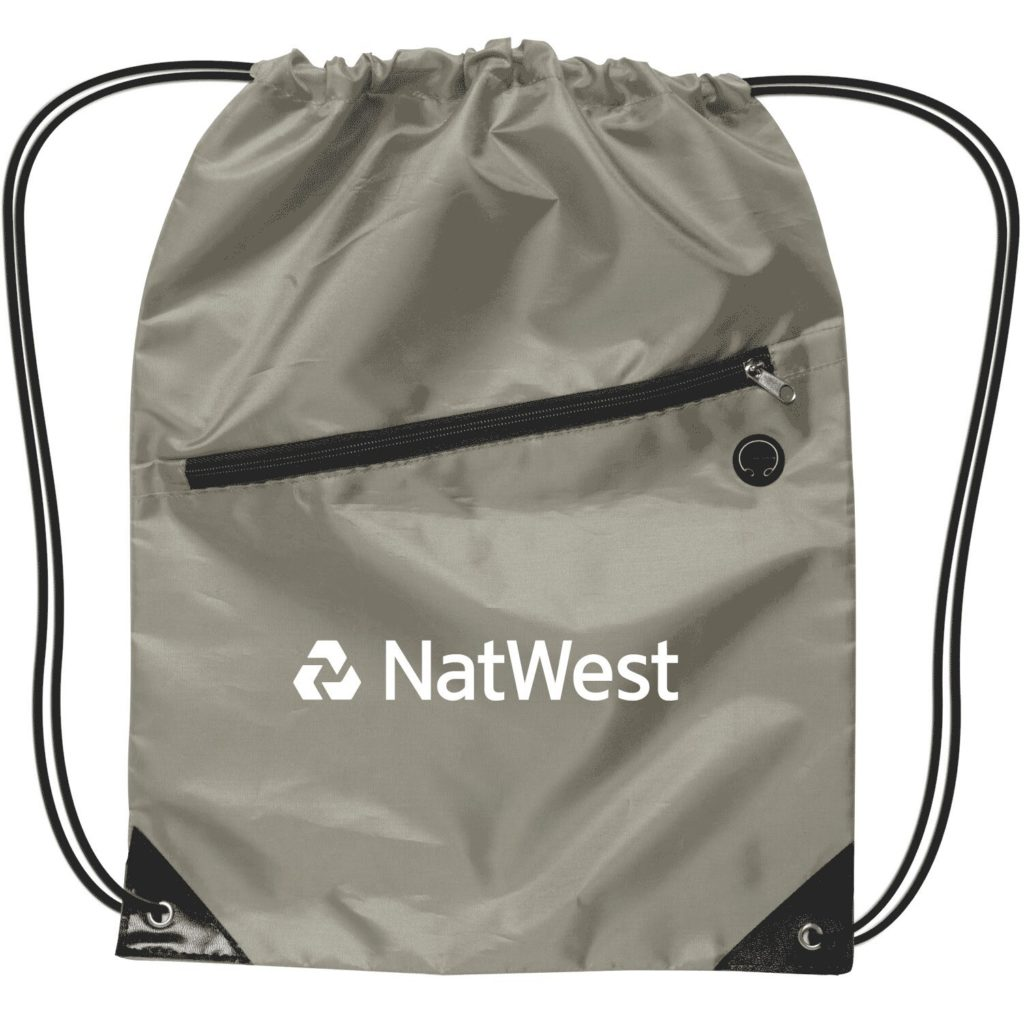 Grey Drawstring backpack with zippers.