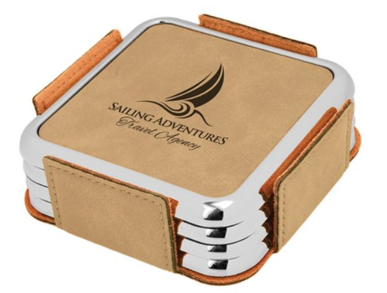 Leatherette Silver Edge Square 4-Coaster Set (Light Brown/Silver)