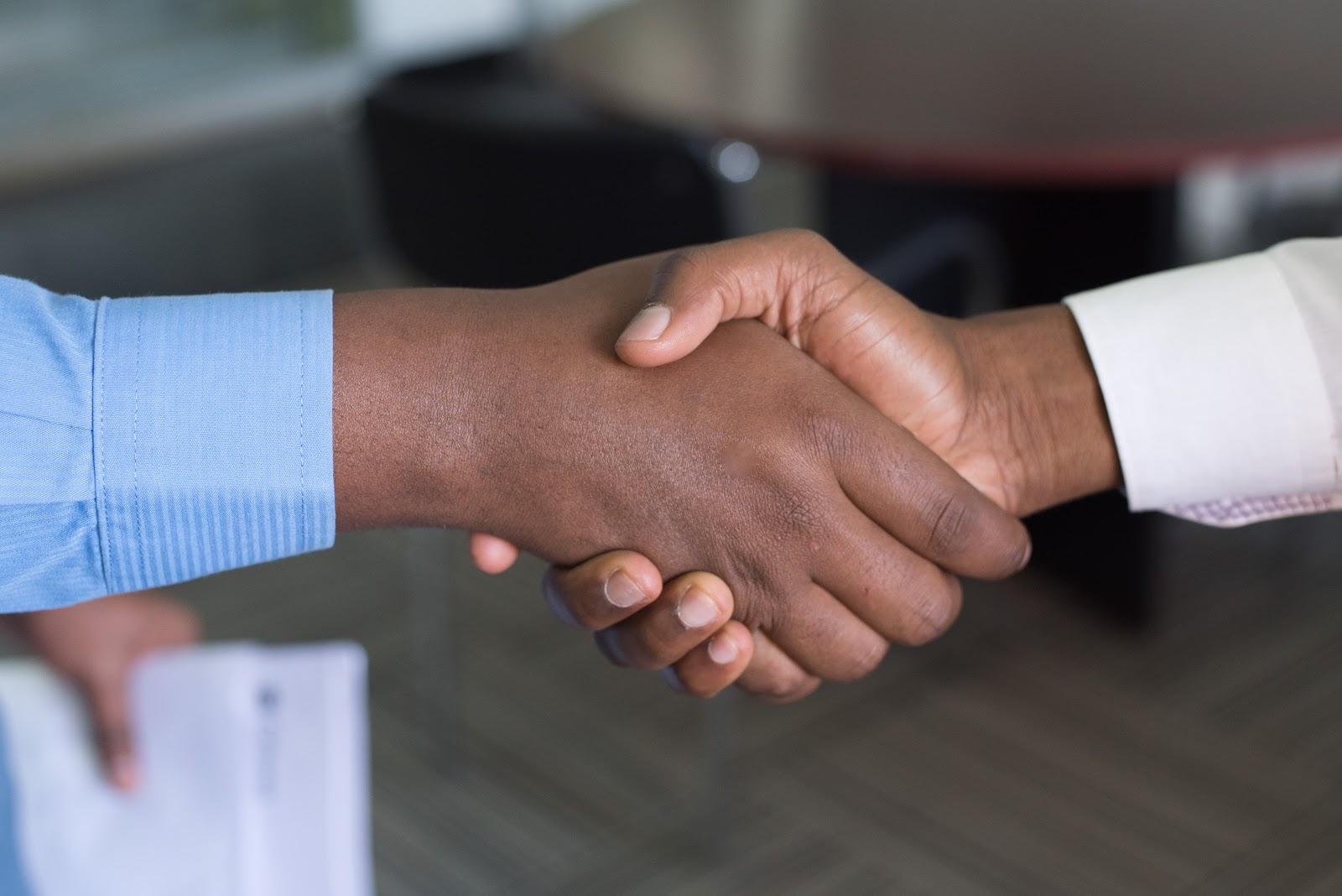 handshaking new employee