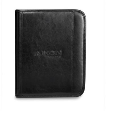 Deluxe Leather Wired-E Padfolio Black