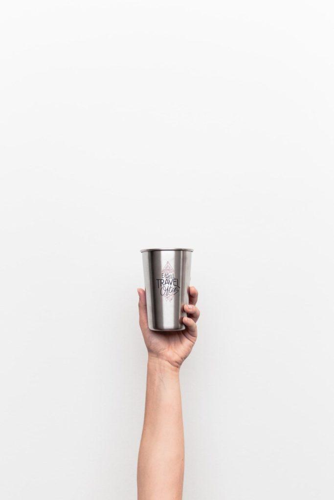 a promotional travel mug