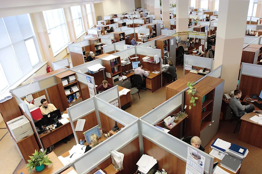 A busy office complex full of employees